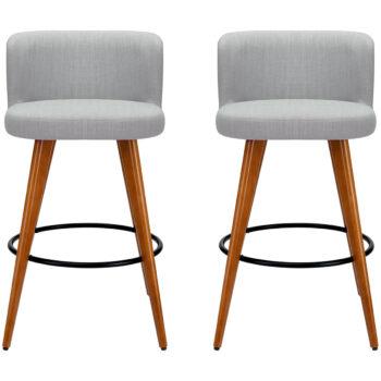 Artiss Grey Wooden Barstool 2pk image 1