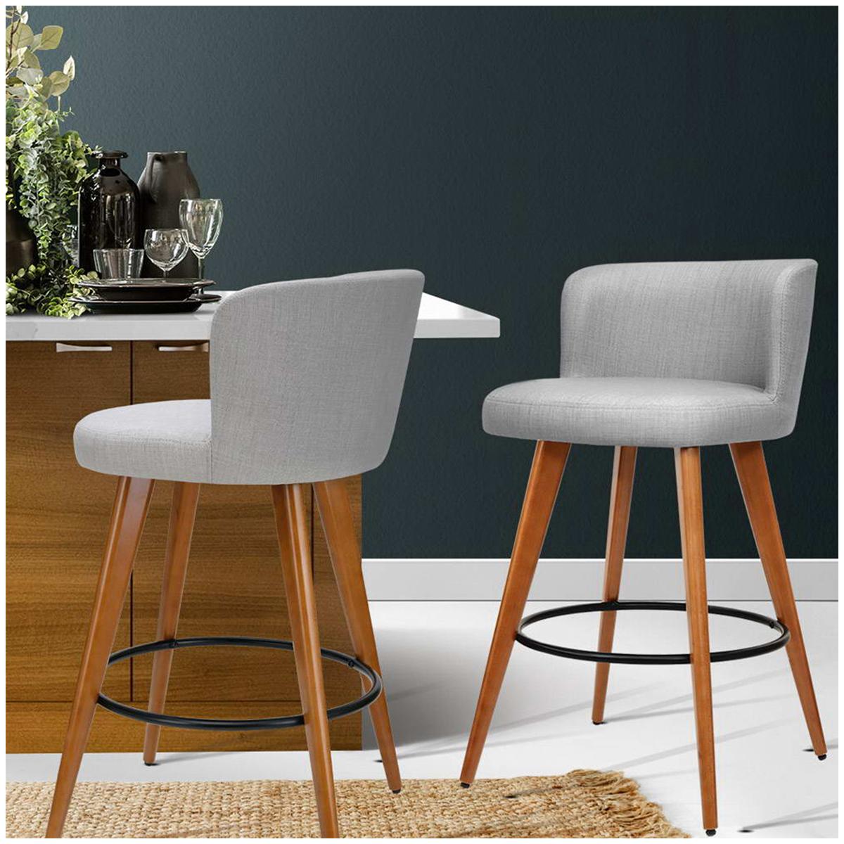 Artiss Grey Wooden Barstool 2pk image 4